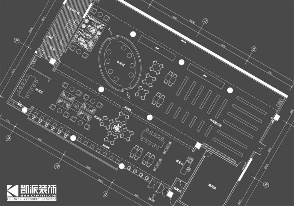 圖書館設計/深圳休閑書吧設計/主題餐廳設計效果圖視角三賞析